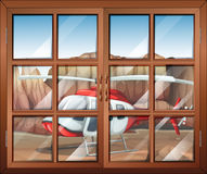 A window with a view of the chopper outside stock illustration