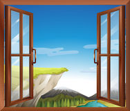 A window with a view of the cliff at the river Stock Photo