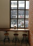 A window view of coffee cafeteria. In the afternoon Royalty Free Stock Images