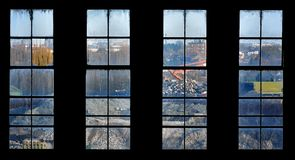 Window view of a construction-site. Old window, view of a construction-site Stock Photography