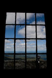 Window view of countryside. Rural countryside landscape viewed through old fashioned window Stock Photos