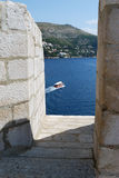 Window View. Dubrovnik, Croatia. Balkans, Adriatic sea, Europe. Royalty Free Stock Photos