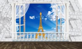 Window view of the Eiffel tower. Photo wallpaper for interior. 3D rendering. Window view of the Eiffel tower. Photo wallpaper for interior vector illustration