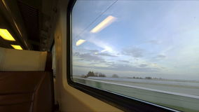 Window view from fast train in Holland stock video
