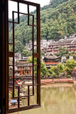 Window view of Fenghuang Village Stock Photo