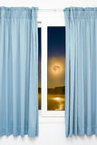 Window view of the full moon Royalty Free Stock Photo
