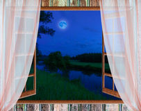 Window view of the full moon Stock Photos