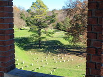 Window View. An image of part of Vicksburg National Military Park from an observation tower Stock Photos