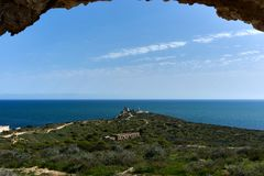 Landscape mediterranean sea view from a castle ruin. Window view of the mediterranean sea in a sunny day Royalty Free Stock Images
