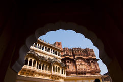 Through the window. View of Mehrangarh Fort through a window Royalty Free Stock Image