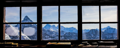 Window View from Mountain Cabin Stock Photography
