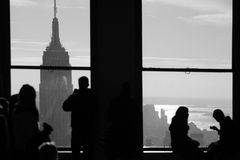 Window view of New York City Manhattan skyline wit stock photography