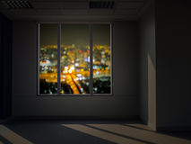 Window view at night. Blur city view outside Stock Images