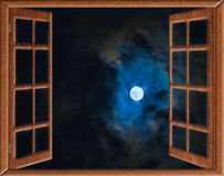 Window View Of The Full Moon Stock Photo