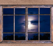 Window View Of The Full Moon Stock Images
