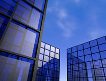 Window view office building blue glass skyscraper 3D illustration Royalty Free Stock Images