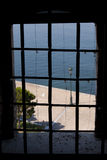 The window view. The view out of the window of Lefkos Pirgos Royalty Free Stock Photos
