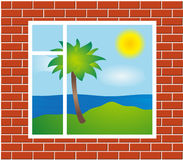 Window view with palm Royalty Free Stock Images