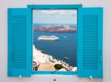 Window with view of Santorini volcano Stock Images