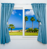 Window view of the sea palm Stock Photography