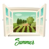 Window with view on summer farm or garden. Summer farm panorama. Outdoor or outside panorama from window with joints at field with crop and trees, garden Stock Photos