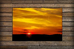Window with view of sunset Stock Images