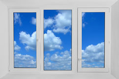 Window  with view to green field Stock Images