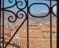 View to the red roofs of Cusco Peru royalty free stock photo