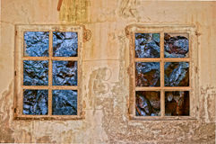 Window with view to rocks in a old building. HDR picture. Windows with a view to rocks in a old, abandoned building Royalty Free Stock Photography