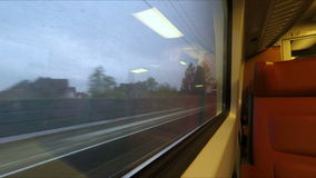 Window view from train in Holland stock video footage