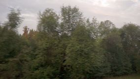 Traveling as Fast Train. Window View from Train. Traveling train going really fast stock footage