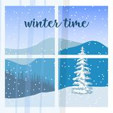 Window. View of of Winter landscape with silhouette of mountains and forest. Snow flurry. Window with curtain. View of of Winter landscape with silhouette of Stock Photos