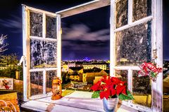 Advent Zagreb Window view Christmas lights. Window view of Zagreb night from viewpoint form upper town with festive, christmas decoration Royalty Free Stock Photography