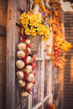 Window with vintage shutters decorated yellow leaves, flowers ba. Sket, garlic strings, corns. Autumn mood in photo studio Stock Photos