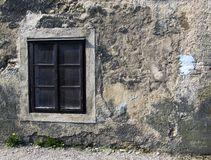 Window&wall. Window and wall with blue point on the old house Royalty Free Stock Photography