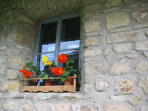 Window in wall. A view of a window in a romanian wall house Royalty Free Stock Photo