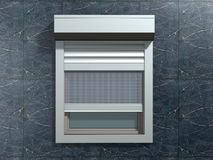 Window on the wall. Window with rolling shutters system on the marble wall stock photo