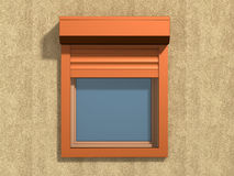 Window on the wall. Window with rolling shutters system on the plaster wall royalty free stock photography