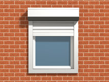 Window on the wall. Window with rolling shutters system on the bricks wall royalty free stock photography