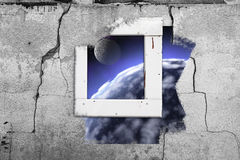 Window wall cosmos space old painting abstract wall cracked Royalty Free Stock Photography