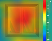 Window on the wall from the front. house facade for a thermal imager. Colored thermographic image of the scan camera. Stock Images