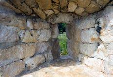 The window in the wall. On the island Vir in Crotia Republic stock image