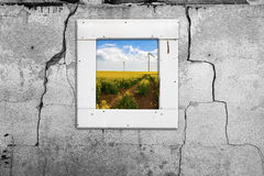 Window wall old landscape windmill abstract wall cracked Stock Images