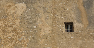 A window in the wall. Window opening in an old brick wall royalty free stock photos