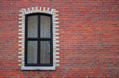 Red brick wall window curtain home building Royalty Free Stock Photos