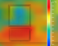 Window on the wall in the room. Steel panel radiator for a thermal imager. Colored thermographic image of the scan camera. Stock Images