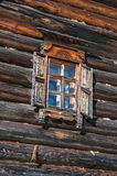 Window in wall. Window in the side wall of historic log cabin Royalty Free Stock Image