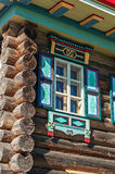 Window in wall. Window in the side wall of historic log cabin Royalty Free Stock Photo