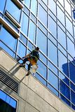 Window washer. On high rise stock image