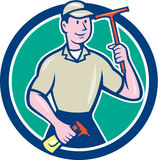 Window Washer Cleaner Squeegee Cartoon Royalty Free Stock Photography
